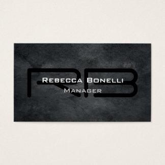 Cartão De Visitas Simples liso minimalista do monograma cinzento na