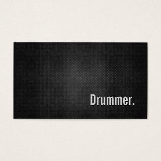 Cartão De Visitas Simplicidade preta legal do metal do baterista