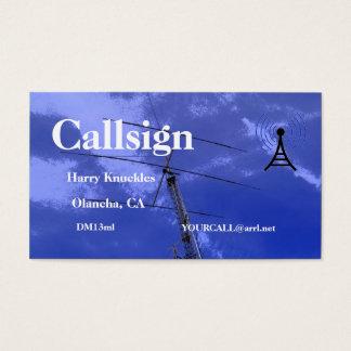Cartão De Visitas Sinal de chamada de rádio amador do feixe e da