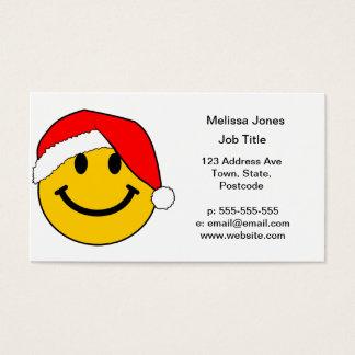Cartão De Visitas Smiley face do papai noel do Natal