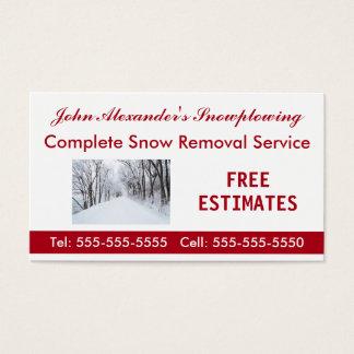 Cartão De Visitas Snowplowing, remoção de neve, e empresa de