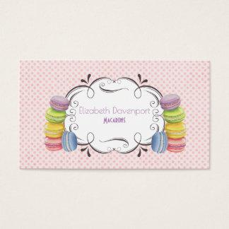 Cartão De Visitas Sobremesa francesa de Macarons em aguarelas Pastel