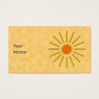 Cartão De Visitas Sol do verão. Cores amarelas mornas