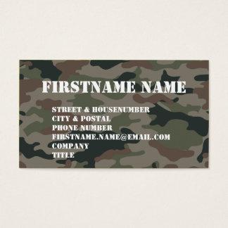 Cartão De Visitas Soldado de Brown do verde da camuflagem do