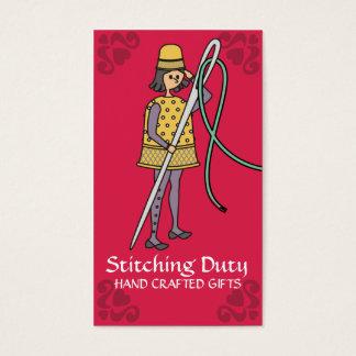 Cartão De Visitas Soldado Sewing da linha da agulha do dedal do