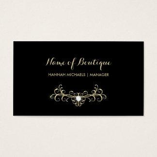 Cartão De Visitas Sparkles elegantes do diamante do preto e do ouro