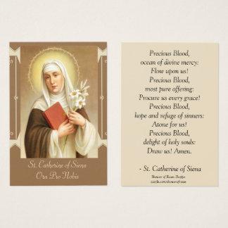 Cartão De Visitas St. Catherine de lírios da escritura de Siena