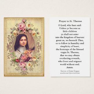 Cartão De Visitas St. Therese do vintage a oração pequena da flor