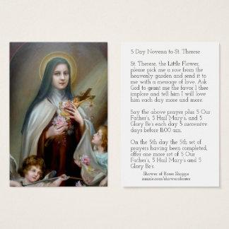 Cartão De Visitas St. Therese do vintage o Novena/rosas pequenos da