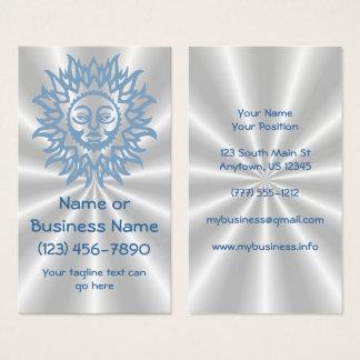 Cartão De Visitas Sun esplêndido no azul no fundo de prata do