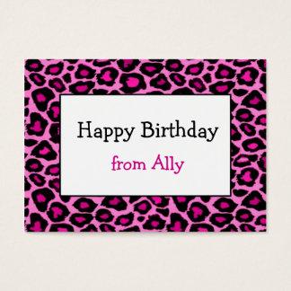 Cartão De Visitas Tag cor-de-rosa do cerco do presente da