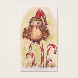 Cartão De Visitas Tag do presente da coruja do Natal