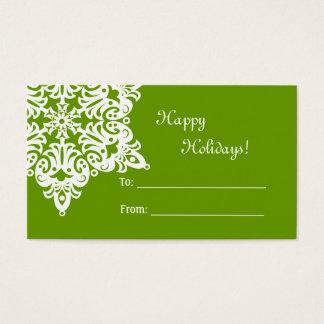 Cartão De Visitas Tag do presente do floco de neve do Natal