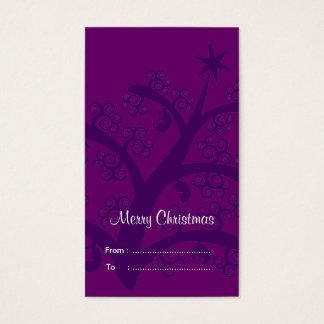 Cartão De Visitas Tag do presente do Natal: Árvore de Natal roxa
