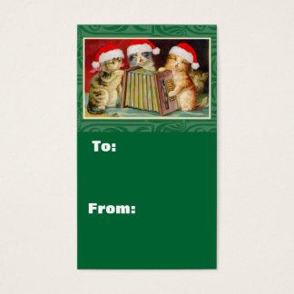 Cartão De Visitas Tag do presente do Natal dos gatos de Singin