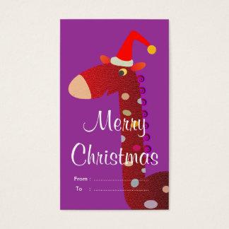 Cartão De Visitas Tag do presente do Natal: Girafa vermelho