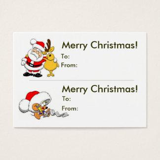 Cartão De Visitas Tag dobro do presente do Natal