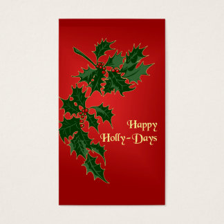 Cartão De Visitas Tag felizes do presente do Natal de Azevinho-Dias