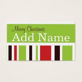 Cartão De Visitas Tag Funky do presente do Natal da listra