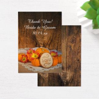 Cartão De Visitas Tag rústico do favor do casamento outono das
