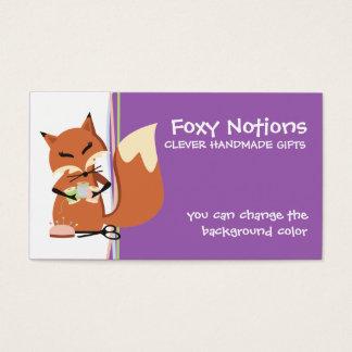 Cartão De Visitas Tag sewing do presente da raposa das noções da cor