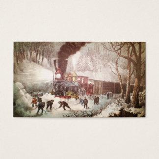 Cartão De Visitas Tag Snowbound do presente do Natal do trem