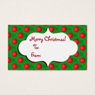 Cartão De Visitas Tag verde & vermelho do Natal do bauble do