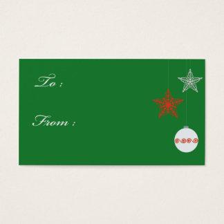 Cartão De Visitas Tag verdes do presente do Natal