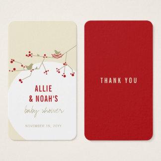 Cartão De Visitas Tag vermelho do presente do chá de fraldas DIY da