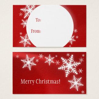 Cartão De Visitas Tag vermelho do presente do White Christmas dos