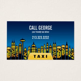 Cartão De Visitas Táxi na cidade na noite