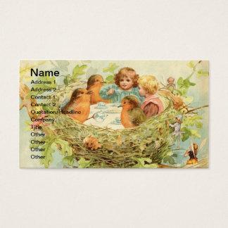 Cartão De Visitas Tea party do ninho do pássaro do vintage