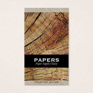 Cartão De Visitas Tecido Textured com corte da madeira
