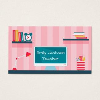 Cartão De Visitas Tema cor-de-rosa da escola das listras do