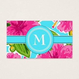 Cartão De Visitas Tendendo a cerceta e a inicial floral tropical