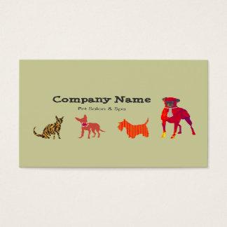 Cartão De Visitas Termas bonitos do salão de beleza do animal de