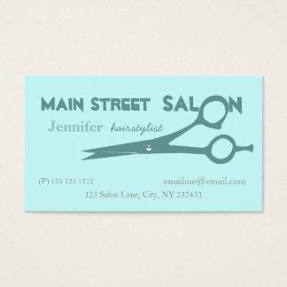 Cartão De Visitas Tesouras azuis pálido do corte do cabelo dos