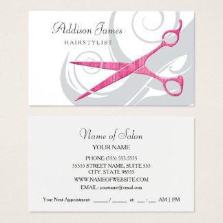 Cartão De Visitas Tesouras cor-de-rosa chamativos e ondas do