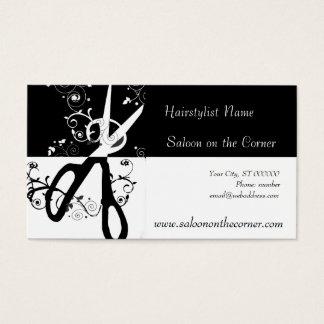 Cartão De Visitas Tesouras preto e branco