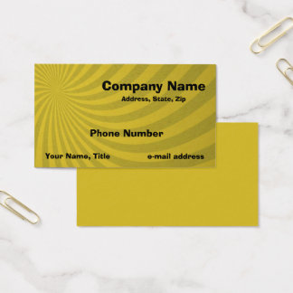 Cartão De Visitas Teste padrão amarelo retro do redemoinho