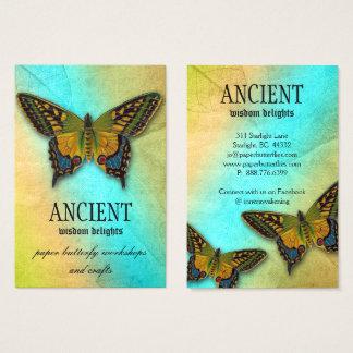Cartão De Visitas Teste padrão antigo da folha da borboleta da