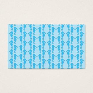 Cartão De Visitas Teste padrão azul do cavalo marinho