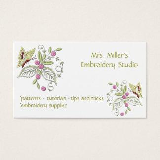 Cartão De Visitas Teste padrão bordado do bordado da borboleta das