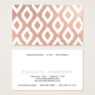 Cartão De Visitas Teste padrão branco do ikat do ouro cor-de-rosa à