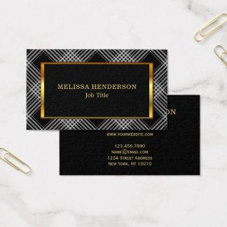 Cartão De Visitas Teste padrão checkered do preto à moda moderno do