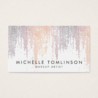 Cartão De Visitas Teste padrão colorido Luxe da chuva dos confetes