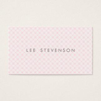 Cartão De Visitas Teste padrão cor-de-rosa chique simples de