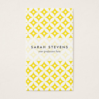Cartão De Visitas Teste padrão de bolinhas amarelo e branco moderno