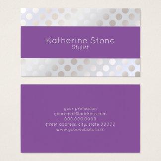Cartão De Visitas Teste padrão de bolinhas de prata do falso à moda