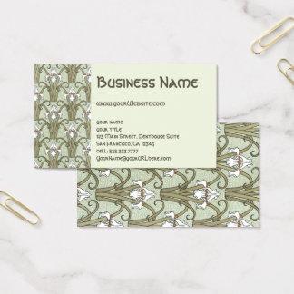 Cartão De Visitas Teste padrão de flor floral das íris de Nouveau da
